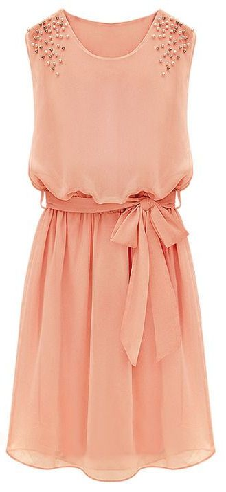 Coral Bead Chiffon Sundress <3 This could be a good transition piece for fall.