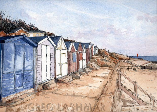 Art Print, Hipkins Beach Huts