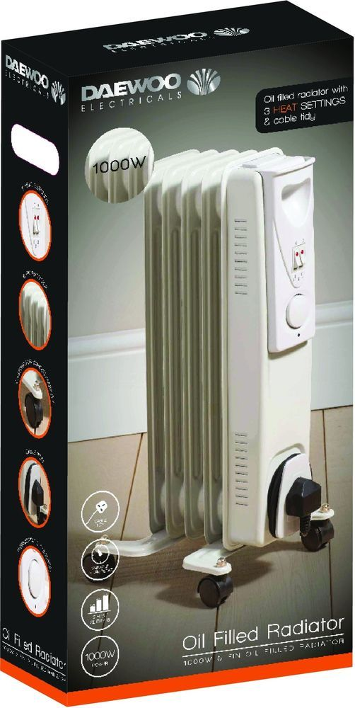 Oil Filled Radiator With Thermostat Control Tidy Cable Portable Easy Movement