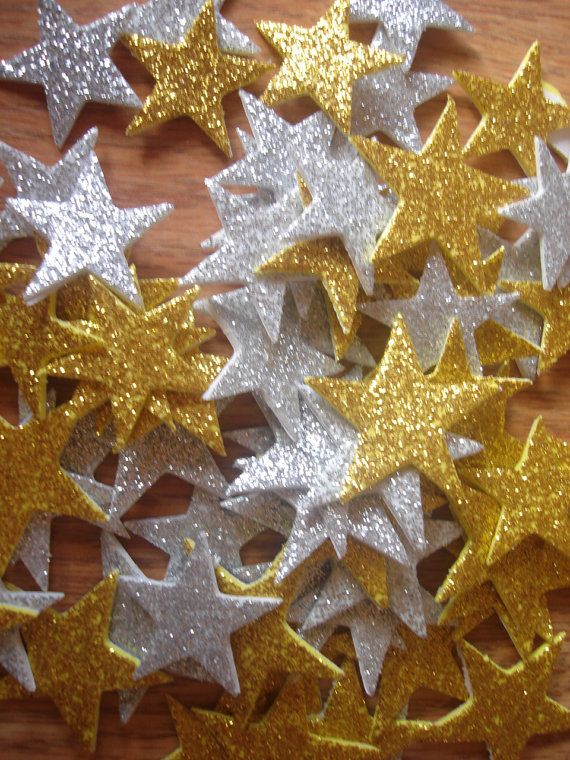 Glitter Star Gold and Silver Foam Stickers Valentine by MoonChi