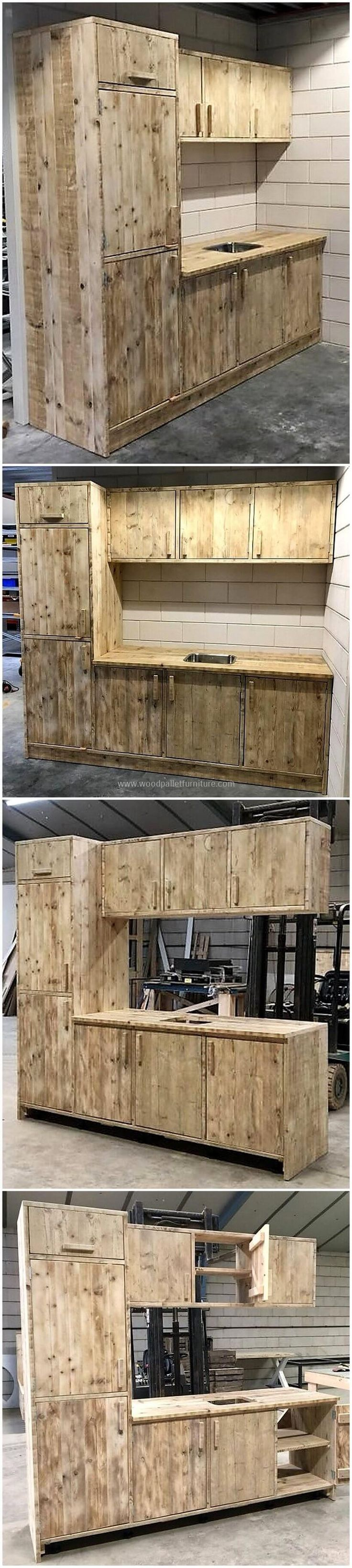 Here we are bringing to you smartly constructed wooden pallets made kitchen unit. This is the best wooden kitchen unit for every kitchen. It has three upper wooden cabinets, four in it's lower portion and two large wooden door cabinets on its sides. This project will reshape the beauty of your kitchen in an economical way.