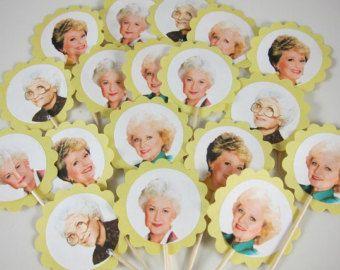 The Golden Girls Cupcake toppers, Golden Girls Cupcake Picks, Dorothy, Blanche, Rose, Sophia, Golden Girls party