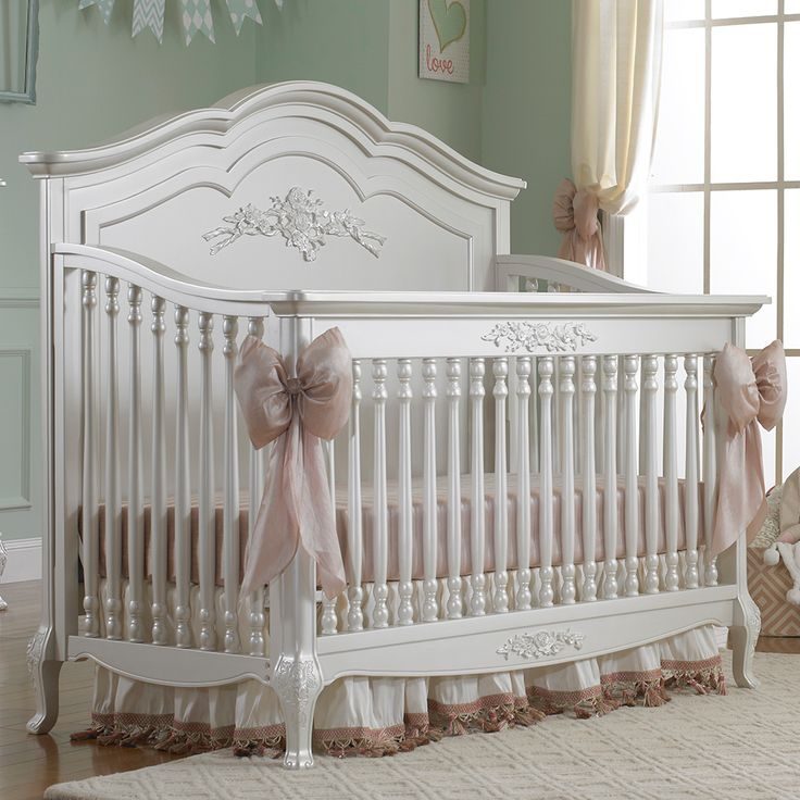 Angelina Pearl Convertible is finished in a lovely soft linen white cream. Solid wood construction crib and lovely assortment of designer casegoods