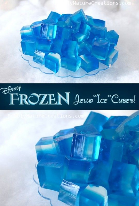 "35+ crafts, games, and treats for a Frozen birthday party. We adore these Jello ""ice"" cubes for a simple Frozen party food idea."