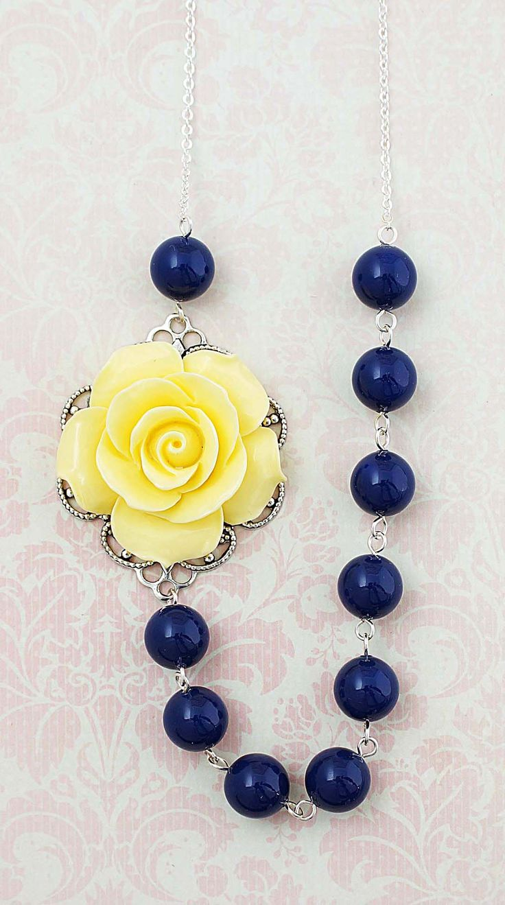 Navy and Yellow Flower and Swarovski Pearls Necklace from EarringsNation Navy + Yellow Weddings Navy and Yellow Weddings