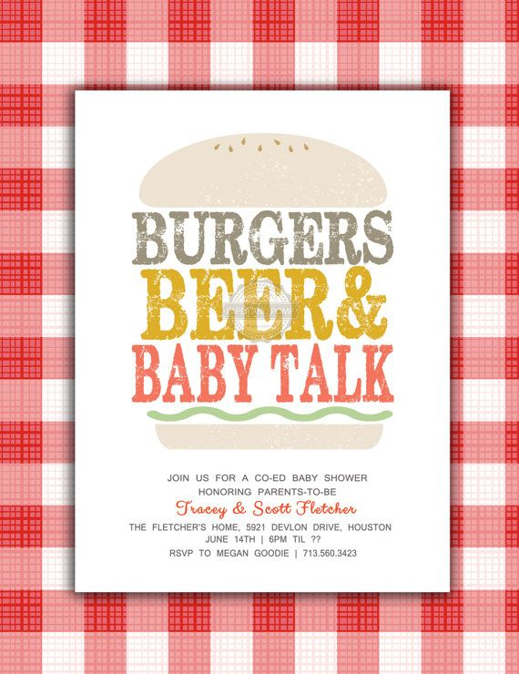 Coed Baby Shower Themes Part - 47: Burgers And Beer Baby Shower Invitation Co Ed Couples Baby Shower  Invitation Printable