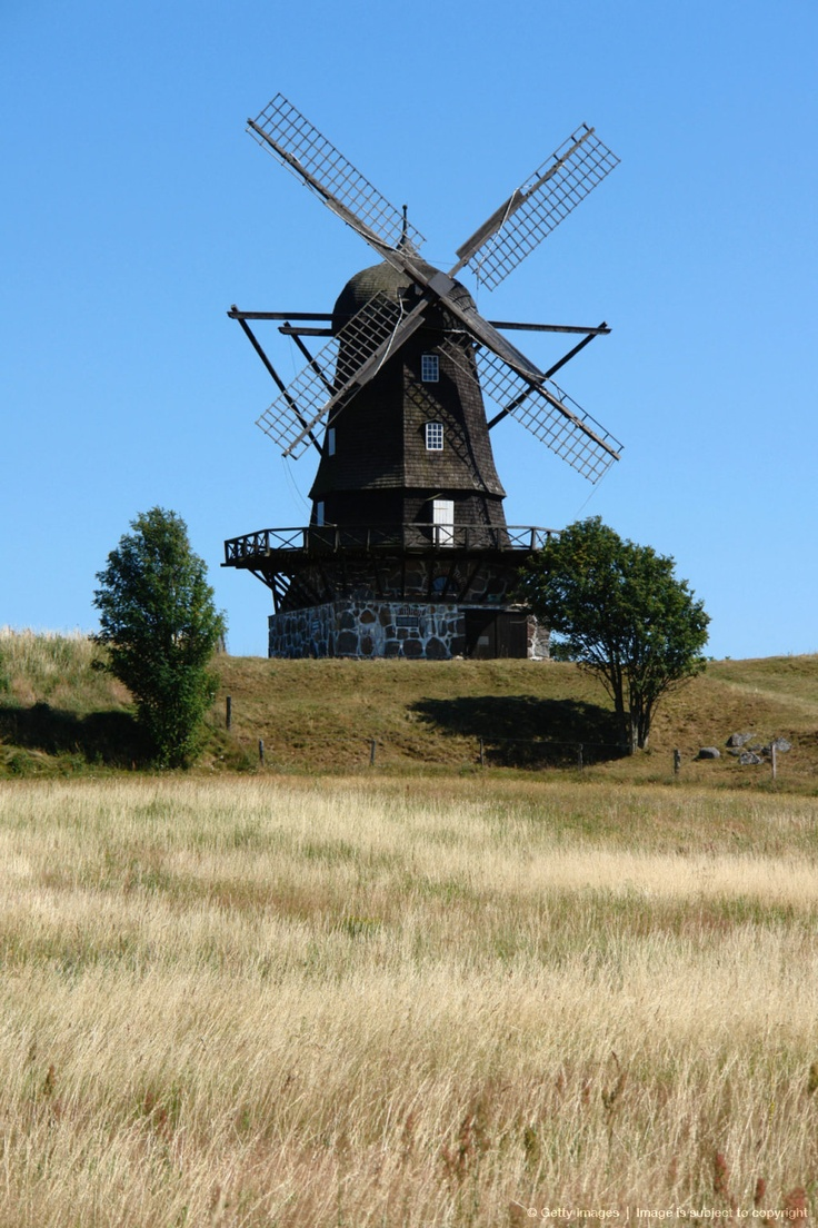 A landscape with an old windmill in Mölle, Skåne, Sweden.