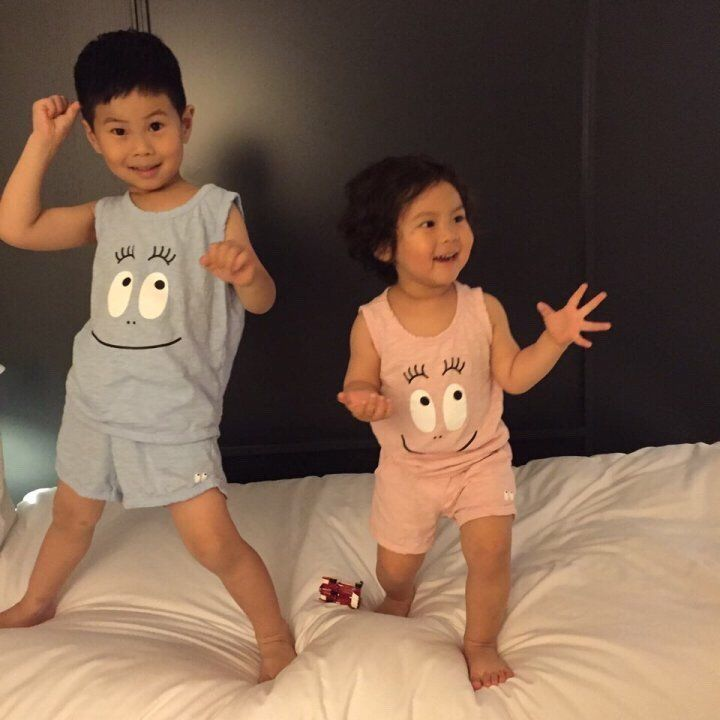 Kids Boys and Girls Blue Summer Homewear Set Sleeveless Top and Short Set