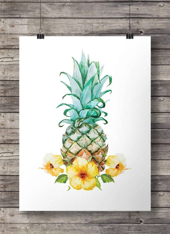 Hibiscus watercolor Pineapple - Printable wall art  -  Instant download digital print