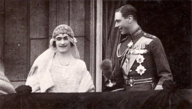 Lady Elizabeth Bowes-Lyon (much later Queen Elizabeth The Queen Mother) at her marriage to Albert, Duke of York (later King Edward VI). | Via Royal Musings