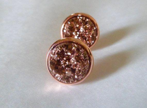 Rose goud druzy Stud Earrings stud earrings, druzy Stud Earrings stud earrings, gouden oorringen 12mm rose, geel gouden studs.
