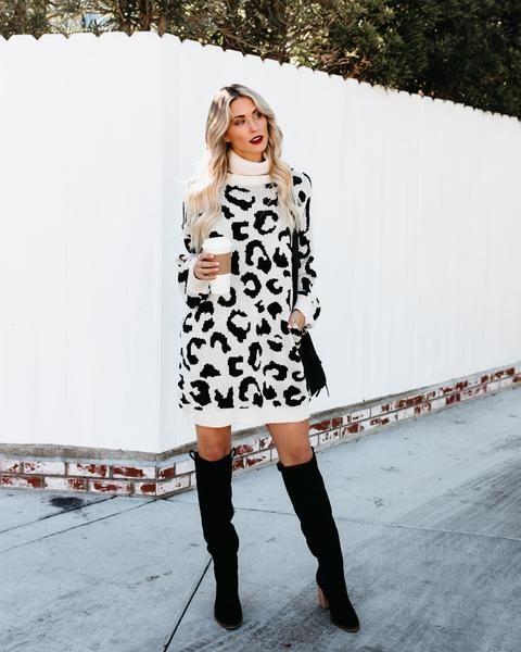 1b15364effe Kamala Leopard Pocketed Sweater Dress