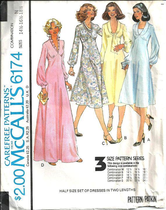1970's McCall's Pattern 6174 Women's Dress