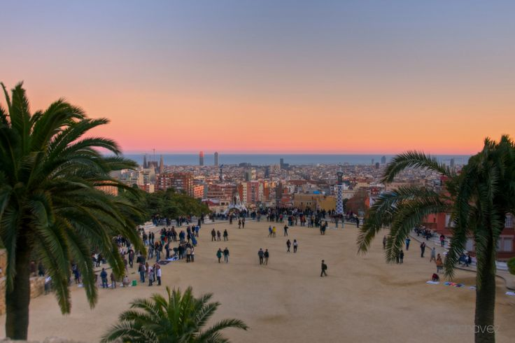 The highest part of Parc Güell is high above the city. From this point, visitors will get a beautiful view of the entire park and Barcelona. #ParcGuell #Gaudi #Bestview #Barcelona #