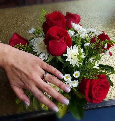 Titanium-jewelry.com customer wearing Bypass Tension Set Titanium Engagement Ring -  Jolie - 2