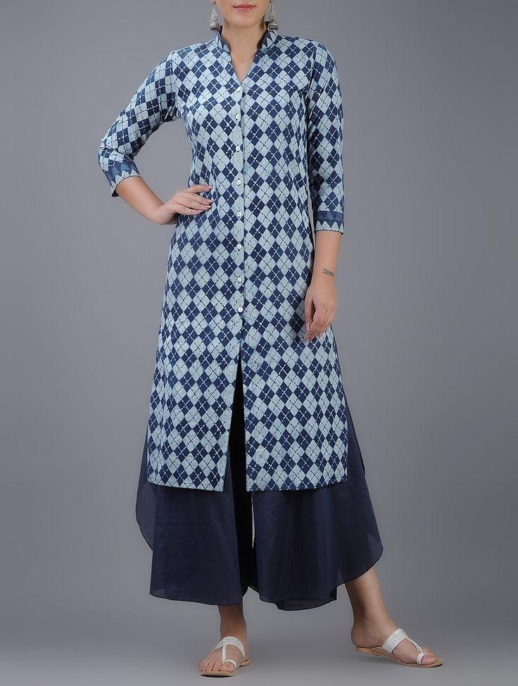 Buy Indigo White Dabu printed Button down Cotton Kurta Women Kurtas Online at Jaypore.com