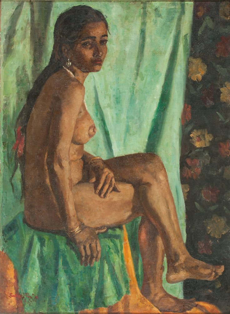 Satish Chandra Sinha Medium: Oil on canvas, lined on cloth and pasted on masonite board Size: 35.7 x 26 in.