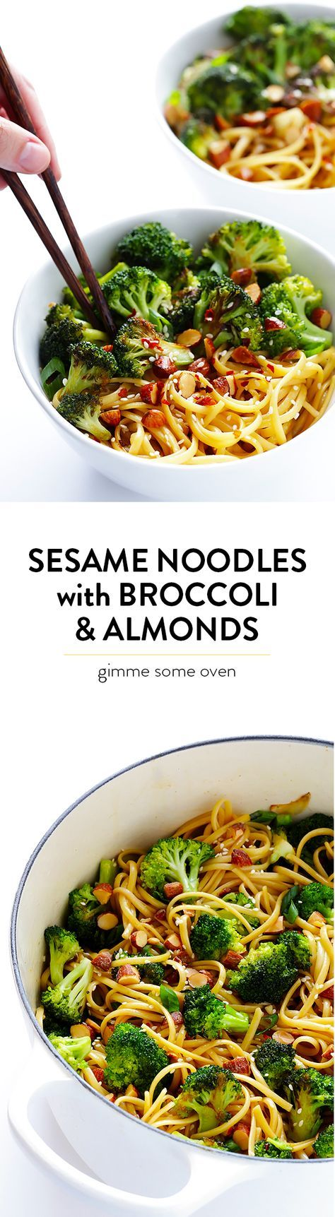 Sesame Noodles with Broccoli and Almonds -- ready to go in 20 minutes, and full of the BEST fresh flavors. | http://gimmesomeoven.com