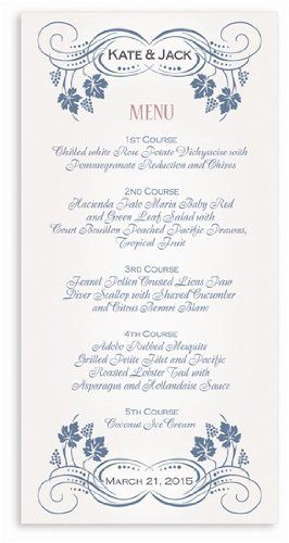 115 Wedding Menu Cards - Vine Garden Trellis & Rose by WeddingPaperMasters.com. $85.10. Now you can have it all! We have created, at incredible prices & outstanding quality, more than 300 gorgeous collections consisting of over 6000 beautiful pieces that are perfectly coordinated together to capture your vision without compromise. No more mixing and matching or having to compromise your look. We can provide you with one piece or an entire collection in a one stop shop...