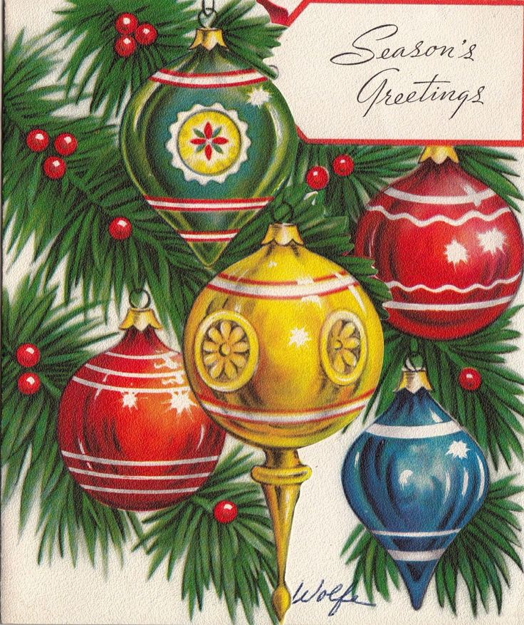 1332 best vintage christmas cards images on pinterest for What to do with old christmas ornaments