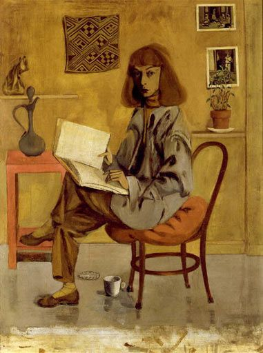 "Elaine de Kooning, Self-Portrait, 1946.     ""A painting to me is primarily a verb, not a noun, an event first and only secondarily an image."" -- EDK"