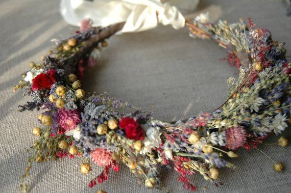 Bridal Flower Crown Dried Lavender and Dried Flowers for Brides, Bridesmaids, Flowergirls