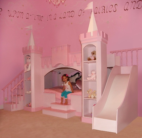 bed ideas kids pink princess bedroom little girls love princesses a custom girls princess castle bed with slide and steps pull ball pony
