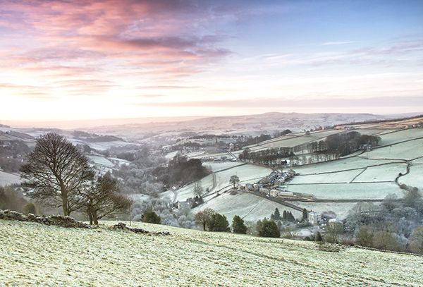 Looking down a Yorkshire valley on a frosty dawn
