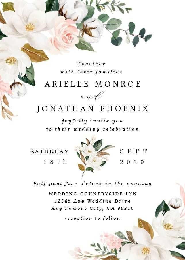 Invitation Cards 2015 Wedding Trends Bridesmaid Dresses Handmade Wedding Beach Wedding Invitations T In 2020 Floral Wedding Invitations Floral Wedding Magnolia Wedding