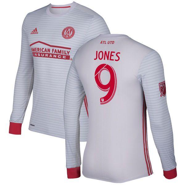 Kenwyne Jones Atlanta United FC adidas 2017 Secondary Authentic Long Sleeve Jersey - Gray/Red - $179.99