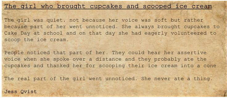 People - Writing - The girl who brought cupcakes and scooped ice cream - anorexia - food - eat - deep - hide - notice     https://jessoutsidethelines.wordpress.com/category/people/  https://www.wattpad.com/story/50957356-people