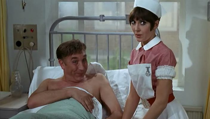 Frankie Howerd and Anita Harris in Carry On Doctor. 1967