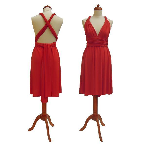 Krátké červené šaty. Variabilní šaty Convertibles jsou ideální na svatbu, maturitní ples, společenské akce i denní nošení. Uvažte si je jakkoliv budete chtít a pokaždé v nich můžete vypadat jinak.