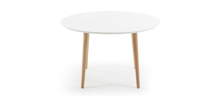 Table oqui ovale extensible 120 200 cm naturel et blanc for Table extensible 6 a 8 personnes blooma