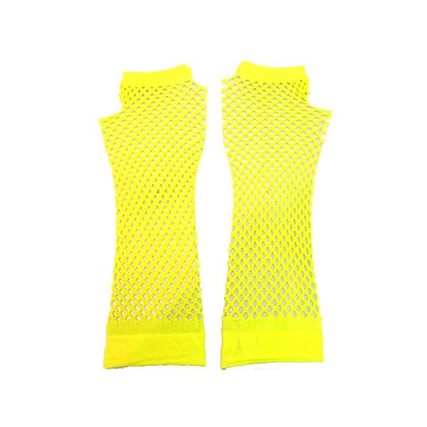 Fishnet Gloves Long UV Yellow | Gothic Clothing | Emo clothing | Alternative clothing | Punk clothing - Chaotic Clothing ($4.93) found on Polyvore