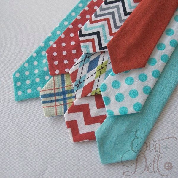 Red Aqua Boys Neck Tie  - Chevron Argyle Polka Dot Plaid - Baby Toddler Kids - Cake Smash Ring Bearer - Red and Aqua Collection by EvaandDell on Etsy
