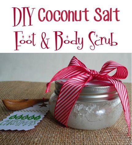 DIY Coconut-Salt Foot and Body Scrub! {such a fun mason jar gift idea!} #foot #scrubs #masonjars