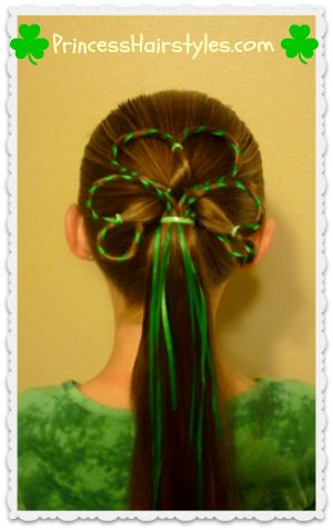 Shamrock with ribbon hair tutorial