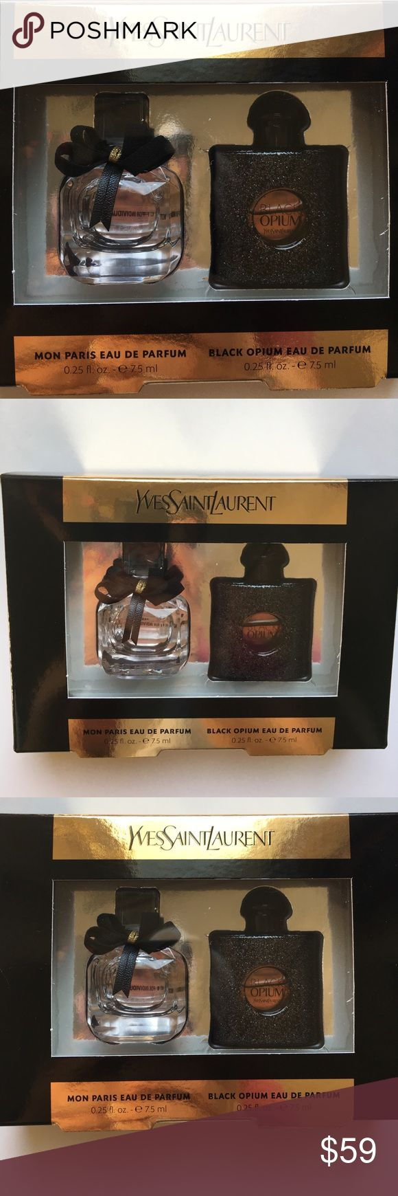 🍬Mon Paris & Black Opium MINI Duo Eau De Parfum Deluxe Size Samples/Mini Dab Bottles. NOT Sprays! 0.25 oz/75 ml each. Brand new! AUTHENTIC! Yves Saint Laurent Makeup