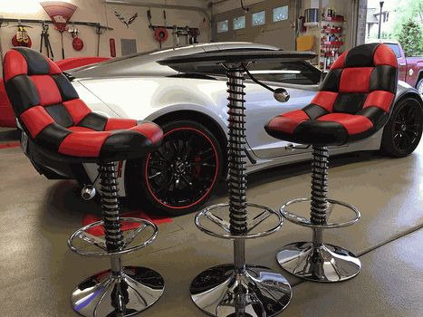 This is a great way to add a compact seating area in your garage or shop   These two chairs have a red checkered padded back and bottom so you can  chill out  86 best Shop Stools images on Pinterest   Shop stools  Swivel bar  . Garage Chairs Stools. Home Design Ideas