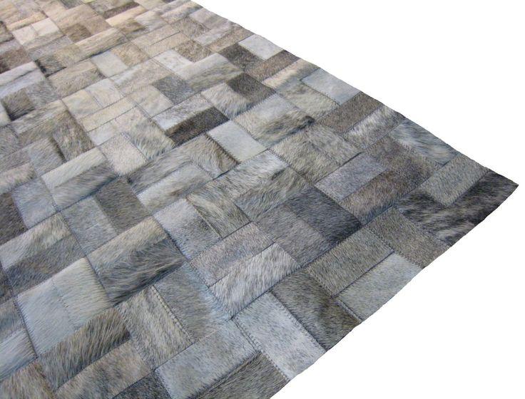 LIFESTYLE By Cara    Grey Brindle Custom Cowhide Patchwork Rug Cow Hide  Leather Hairhide Carpet