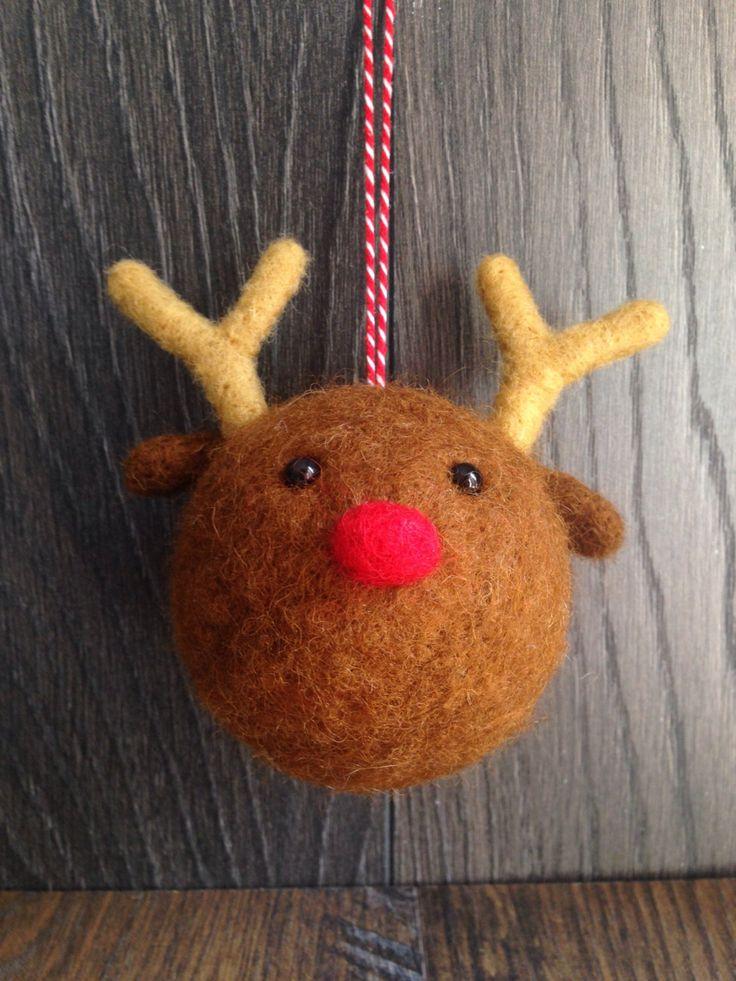 Reindeer Christmas Decoration * Bauble * Needle Felt * by TheHappyFeltClub on Etsy https://www.etsy.com/uk/listing/462739384/reindeer-christmas-decoration-bauble