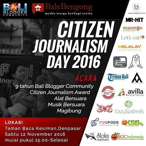 Matur suksma solidaritasnya para pendukung acara.  Apresiasi dialog dan megibung di #citizenjournalismday 12 Nov @taman_baca