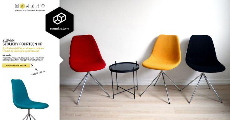 Odovzdávame fantastické čalúnené stoličky na chrómovej podnoži v tvare štvornožky. Pohodlné stoličky FOURTEEN UP od holandského výrobcu sú dostupné v štyroch farebných prevedeniach.
