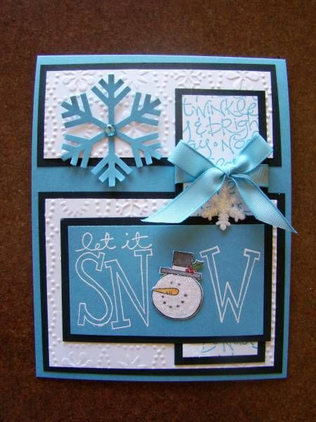 let it snow: Cards Snowman, Cards Ideas, Scrapbook Cards, Scrapbooks Cards, Cards Scrapbooking Stamps, Cards Cards, Christmas Cards Wins, Cards Envelopes Tags, Cardmaking Scrapbook