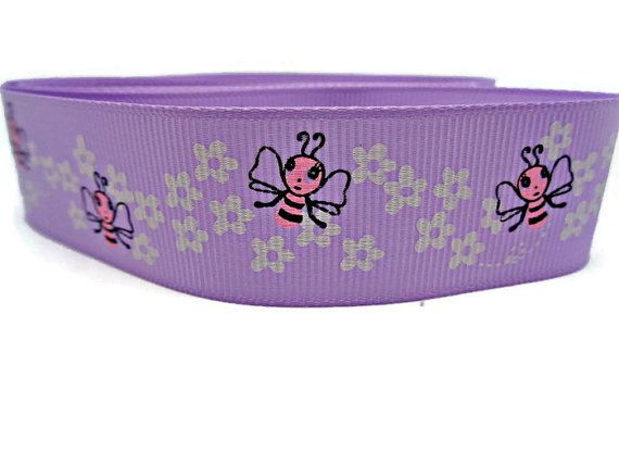 Lilac floral ribbon bee ribbon bumblebee trim by buttonswoon