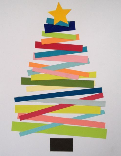 christmas tree art with colored paper strips