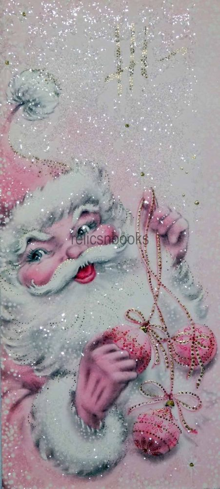 #1432 60s Unused Heavily Glittered Pink Santa-Vintage Christmas Card-Greeting