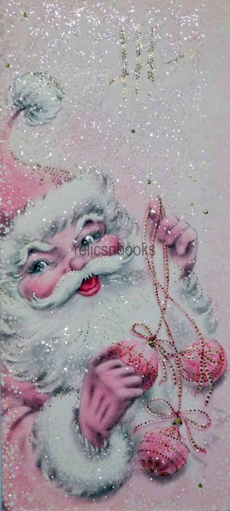 #1432 60s Unused Heavily Glittered Pink Santa-Vintage Christmas Card-Greeting