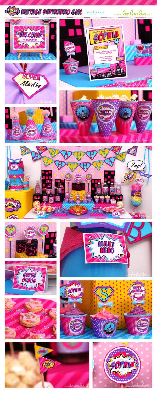 Superhero Girl Birthday Party Package Collection Set by LeeLaaLoo, $35.00
